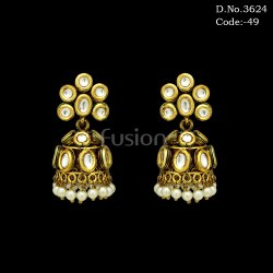 Designer Kundan Jhumki Earrings