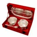 Silver Dual Potli Bowl With Spoon & Tray