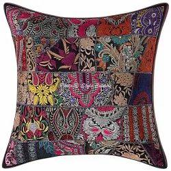 Black Patchwork Cotton Cushion Cover 60x60 cm
