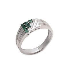925 Handmade Natural Emerald Fine Sterling Silver Polished Well Mens Ring
