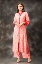 Long Printed Rayon Pink Color Kurtis