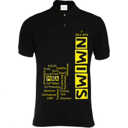 Black Cotton Printed Mens Polo T Shirt, Size: L