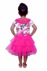 Party Wear Girls Pink Frock, Size: 18 to 28