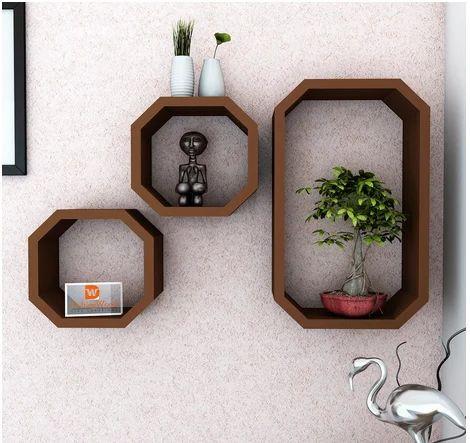 online store 12293 e13ed Octagon Shape Storage Display Wall Shelf Brown