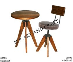 Wooden and Iron Set of Table Round Stool for Restaurant