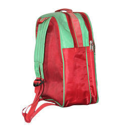 Polyester Red- Green Kids School Bag