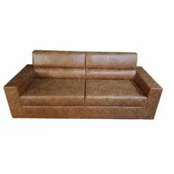 Modern Brown Leather Two Seater Sofa
