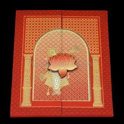 Red Portrait Shreenathji Theme Luxury Box Invite, Size/Dimension: 9