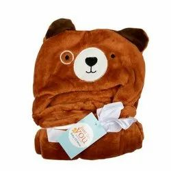 BABY BLANKET WITH HOOD BROWN BEAR