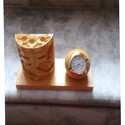 Handmade Pen Holder with Watch Table Top Gift Set