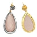 Peach Moonstone CZ Pave Set Gemstone Earrings