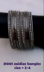Silver Pan India OXIDIZE BANGLES, Size: 2/4