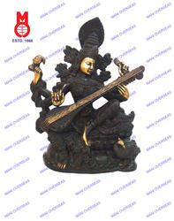 Saraswati Sitting Richly Carved Statue