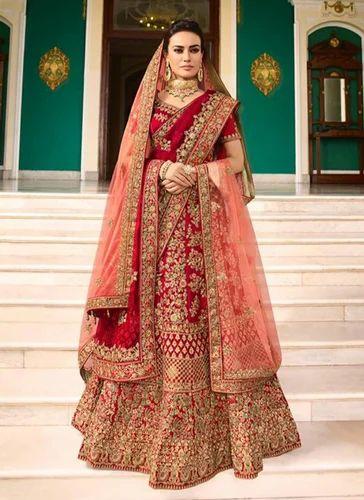 c358a4647c Silk Red Bridal Lehenga Choli, Rs 10680 /piece, Kesari Exports   ID ...