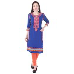 Fancy Embroidery Cotton  Kurti