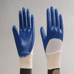Nylon Blue Nitirle Half Deep Hand Gloves, for Industrial