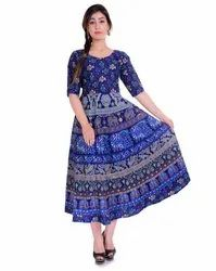 3/4th Sleeves Ladies Jaipuri Printed Frock