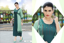 Cotton Party Wear Rayon Printed Kurti, Wash Care: Dry clean