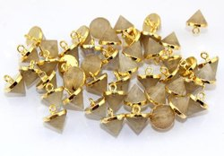 Golden Rutile Faceted Cone Gold Electroplated Pendant