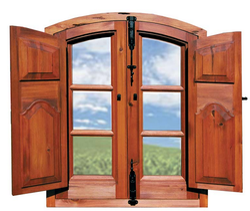 Brown Full Panel Wooden Window Design