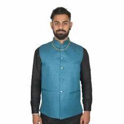 Blue Cotton Blend Plain Modi Jacket, Packaging Type: Poly Bag