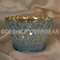 Glass Silver And Decorative T- Light Candle Holder, Shape: Crown