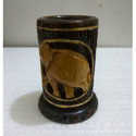 Round Shape Carved Wooden Pen Holder