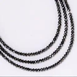 2mm Natural Black Diamond Stone Faceted Rondelle Gemstone Beads Strand