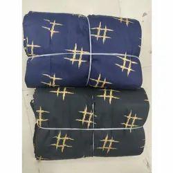 Rayon Black Blue Gold Print Fabric