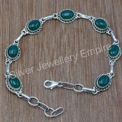 Green Onyx Gemstone 925 Sterling Silver New Jewelry Bracelet