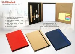 3 Fold Notebook With Wooden Stationary Set, Paper Size: A5