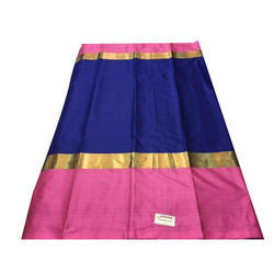 Cotton Saree with Blouse Piece, Length: 6 m