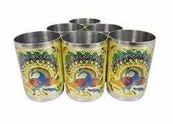 Golden Peacock Designed Hand Painted S.S. Meenakari Glasses