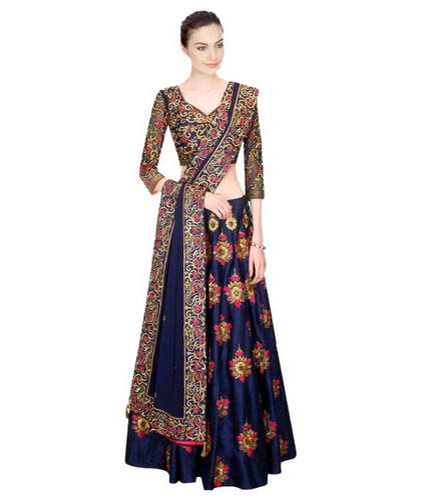 fed1a128d1 Navy Blue Banglori Silk Tfm Banglori Silk With Embroidery & Thread Work  Lehenga Choli