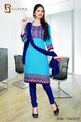 Blue Red Silk Georgette Uniform Salwar Kameez