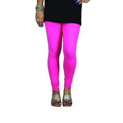 Plain Sassy Curves Hot Pink Cotton Lycra V-Cut Churidar Leggings, Size: Free Size