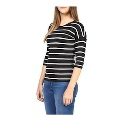 Cotton Striped Womens Round Neck T-Shirt