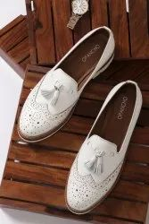 Formal Leather White Loafers For Women, Size: 35-43