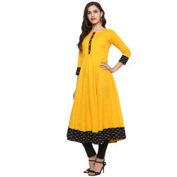 Yash Gallery Womens Cotton Printed Anarkali Kurta