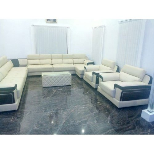 Off White Modern Microfiber Sofa Set
