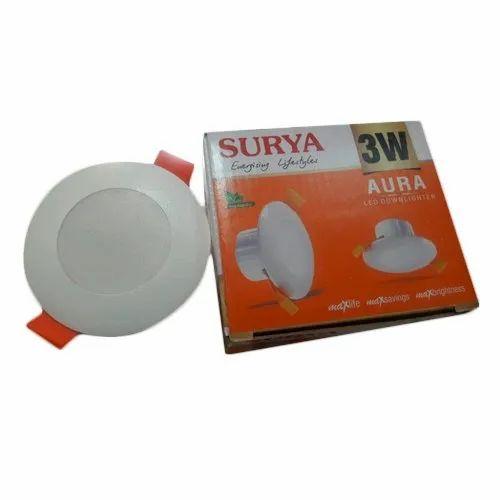 Deep Light White 3 W Surya LED Downlight, Warranty: 2 Year, Shape: Round