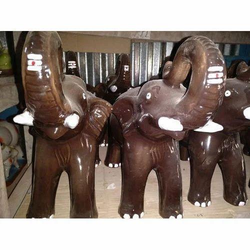 Clay Multicolor Ceramic Elephant, for Interior Decor
