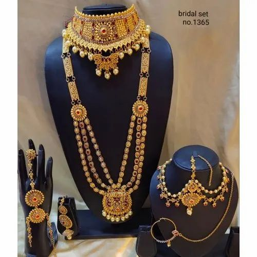 Copper Brass Wedding Gold Plated Bridal Jewellery Set Rs 350 Set