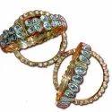 Party Wear Designer Kundan Stone Gold Bangle