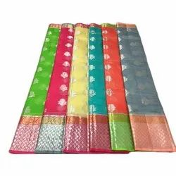 Casual Wear Block Prints Ladies Cotton Assorted Color Sarees, 6.25 m (with blouse piece)