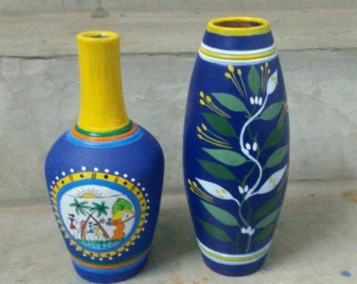 Rural Shades Warli Paint Terracotta Flower Vase