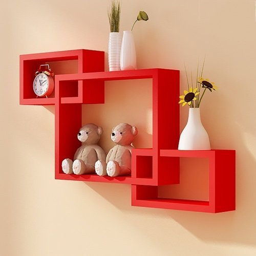 Red Woodworld Intersecting Storage Wall Shelves Rack Rs 1725 Piece