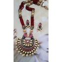 Party And Wedding Maroon Ladies Fashionable Handmade Necklace Set