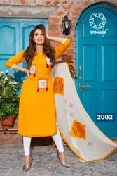 Womaya Rayon Flex Block Printed Kurti with Dupatta