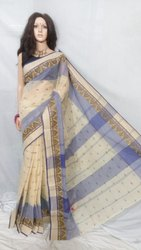 Sanghamitra Sarees 5.5 m Bengal cotton tant handloom saree, Without Blouse Piece, hand weaving